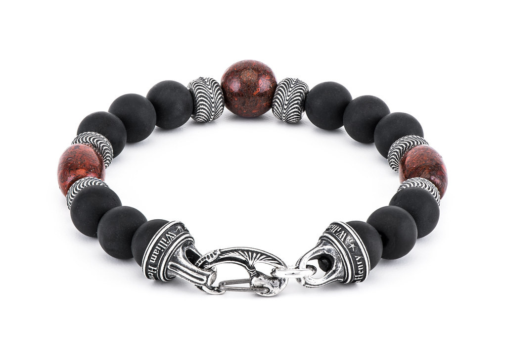 William Henry Sterling Silver Black Onyx Beaded Bracelet