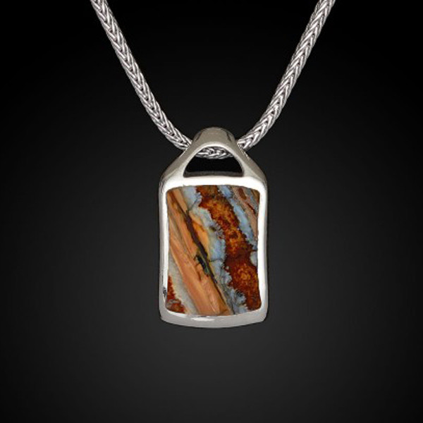 William Henry Dog Tag Fossil Spark Necklace Front View