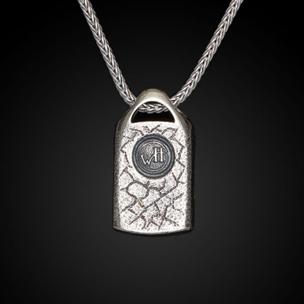 William Henry Dog Tag Fossil Spark Necklace Back View