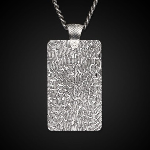 William Henry Dog Tag Damascus Forge Necklace Back View