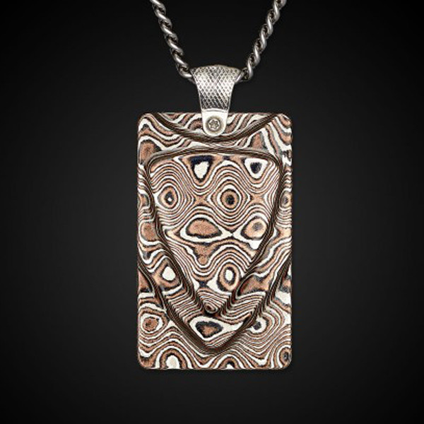 William Henry Dog Tag Mokume Forge Necklace Front View