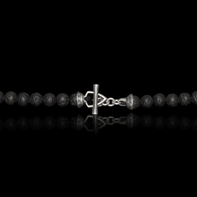 William Henry Lava Rock Bead Amber Elan Necklace Clasp