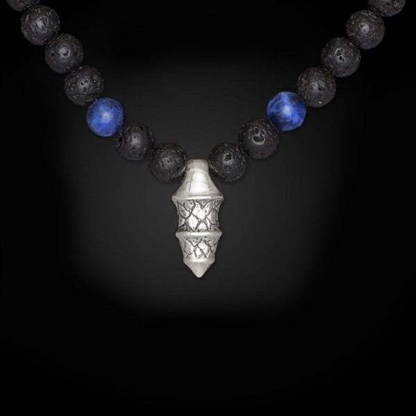 William Henry Lava Rock Bead Sodalite Elan Necklace Front View