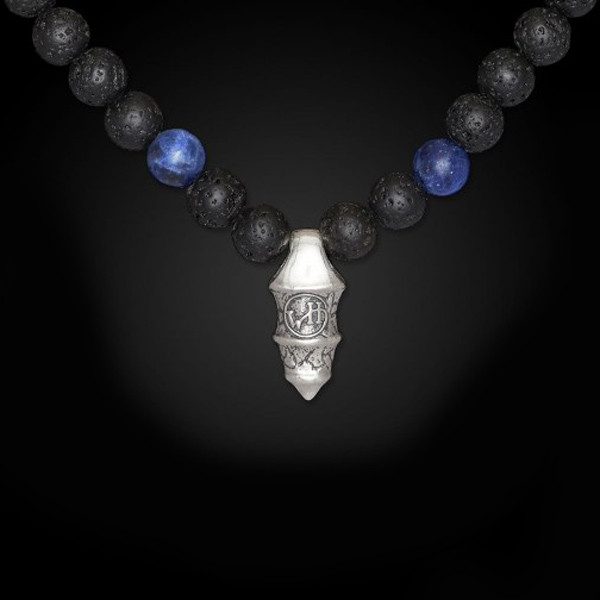 William Henry Lava Rock Bead Sodalite Elan Necklace Back View