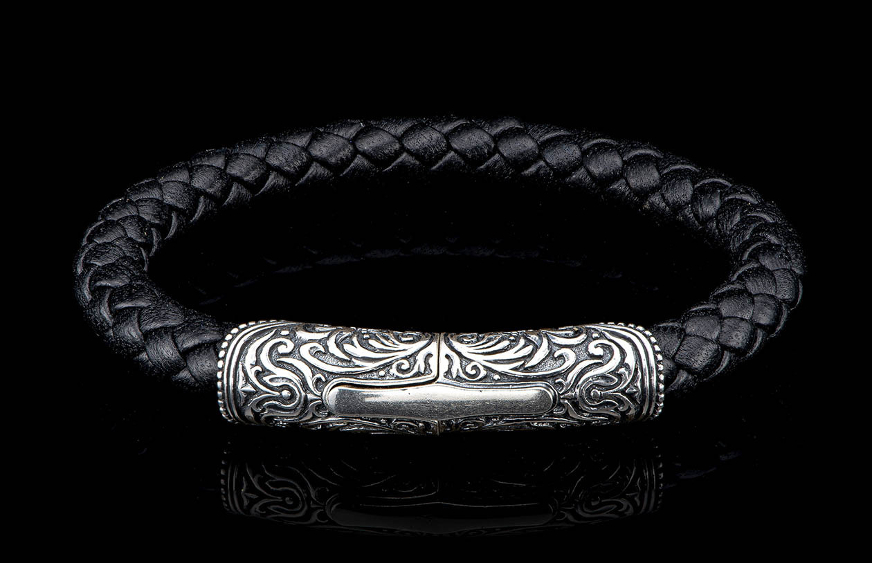 William Henry Milan Silver and Black Leather Bracelet front view