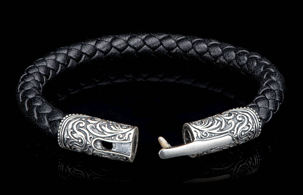 William Henry Milan Silver and Black Leather Bracelet