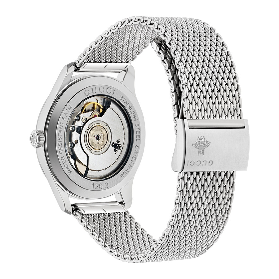 Gucci 40mm Silver House Motif Dial G-Timeless Automatic Watch Angle View
