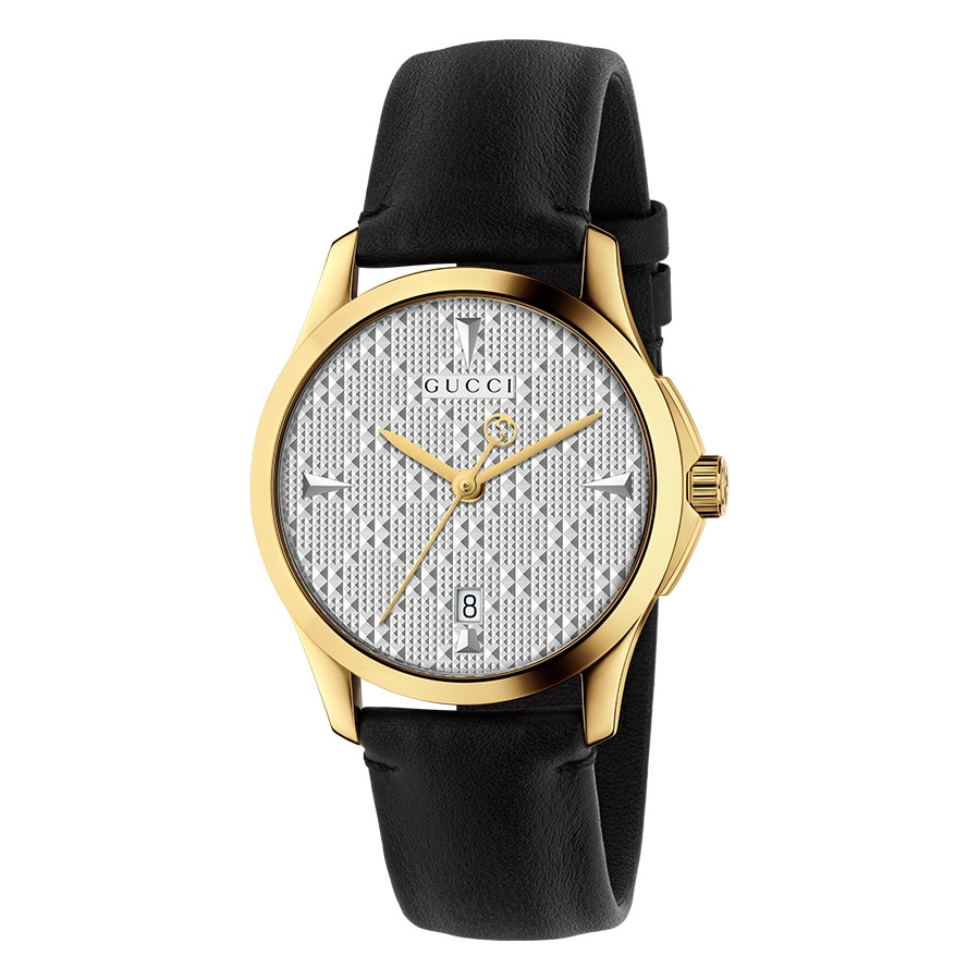 Gucci 38mm Yellow Gold Silver Diamond Pattern Dial G-Timeless Watch