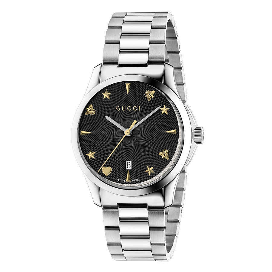 Gucci Stainless Steel G-Timeless Black House Motif Dial Watch