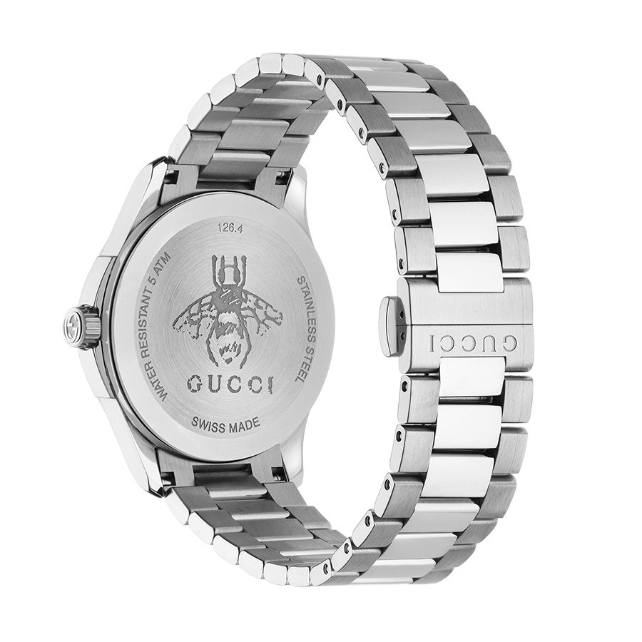 Gucci Stainless Steel G-Timeless Black House Motif Dial Watch Back View