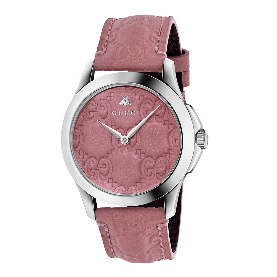 Gucci Signature 38mm Stainless Steel Pink G-Timeless Leather Watch