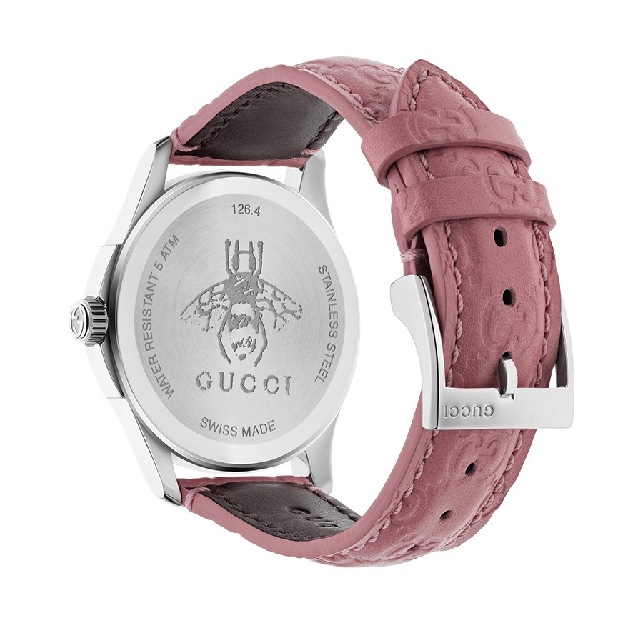 Gucci Signature 38mm Stainless Steel Pink G-Timeless Leather Watch Angle View