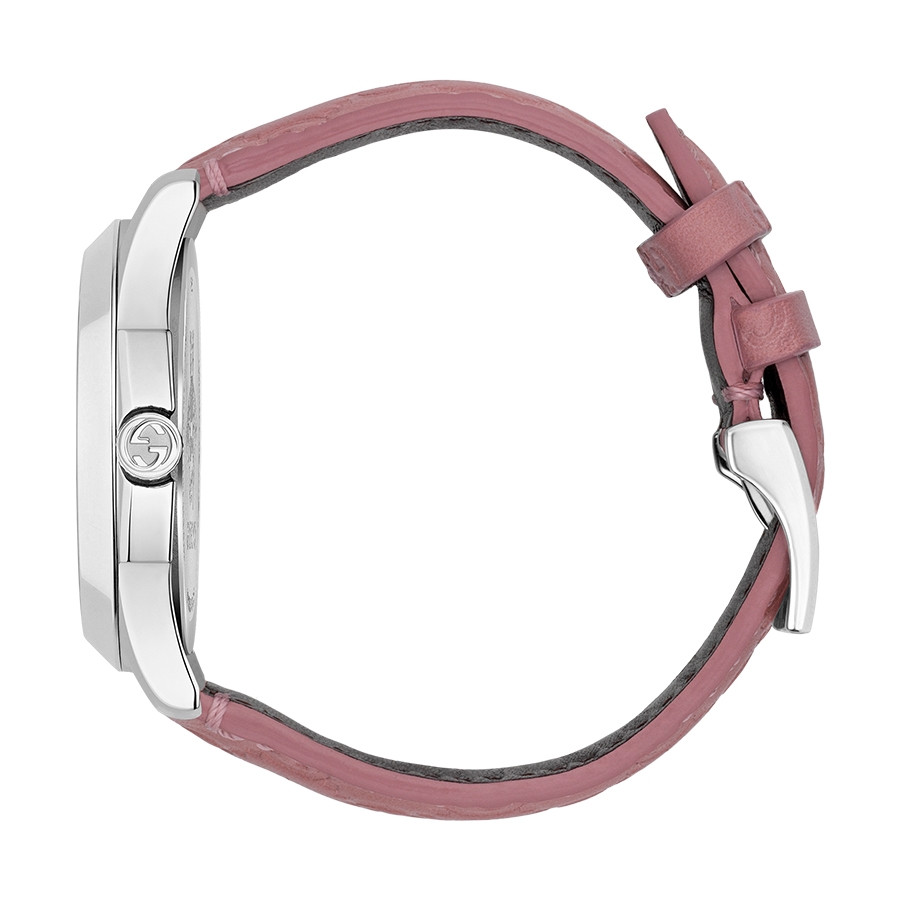 Gucci Signature 38mm Stainless Steel Pink G-Timeless Leather Watch Side View