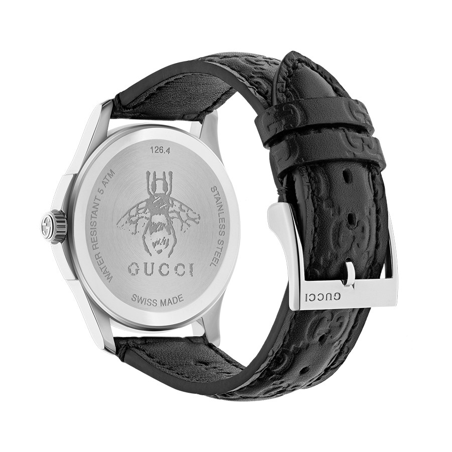 Gucci Signature 38mm Stainless Steel Black G-Timeless Leather Watch Angle View