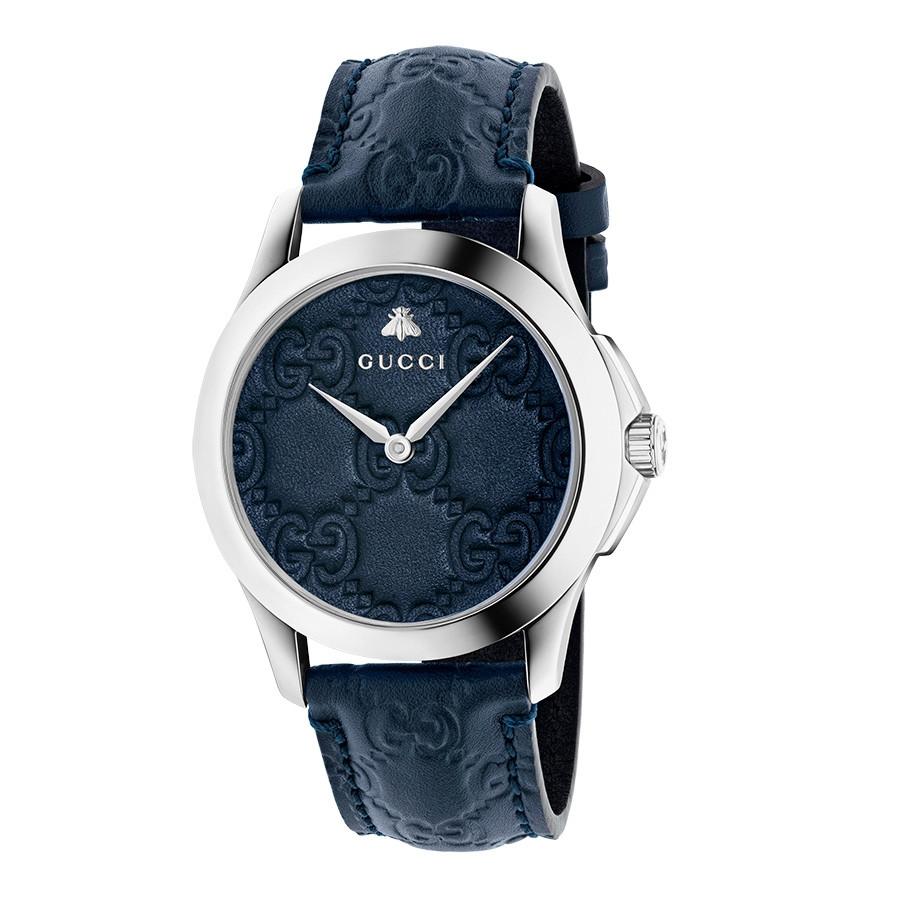 Gucci Dark Blue G-Timeless GG Debossed Dial Watch