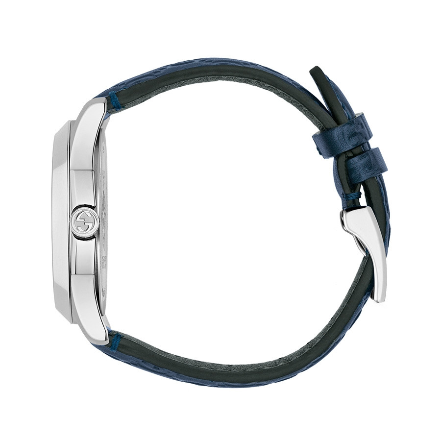 Gucci Dark Blue G-Timeless GG Debossed Dial Watch Side View