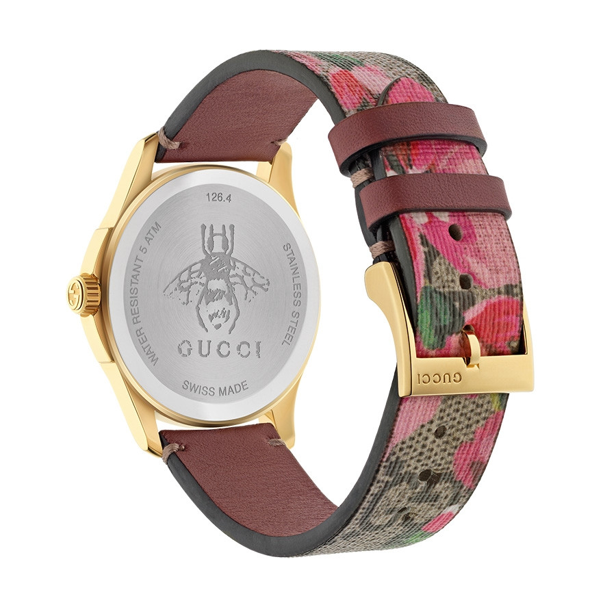 Gucci Pink G-Timeless GG Blooms Supreme Watch Back View