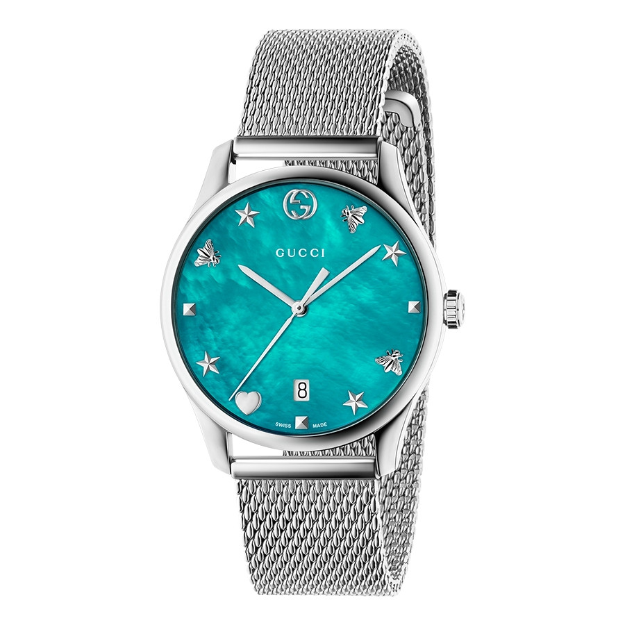 Gucci 36mm Stainless Steel G-Timeless Mesh Turquoise Mother of Pearl Watch