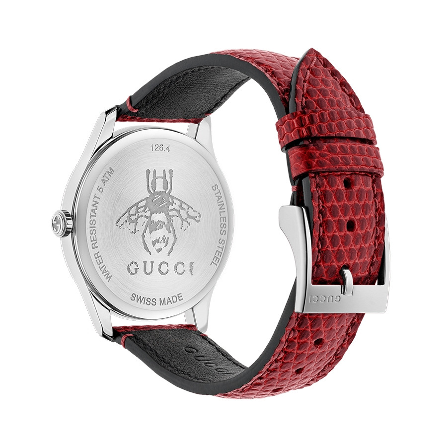 G-Timeless 36mm Cherry Mother of Pearl House Motif Gucci Dial Watch Angle View