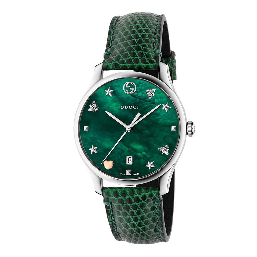 G-Timeless 36mm Green Mother of Pearl House Motif Gucci Dial Watch