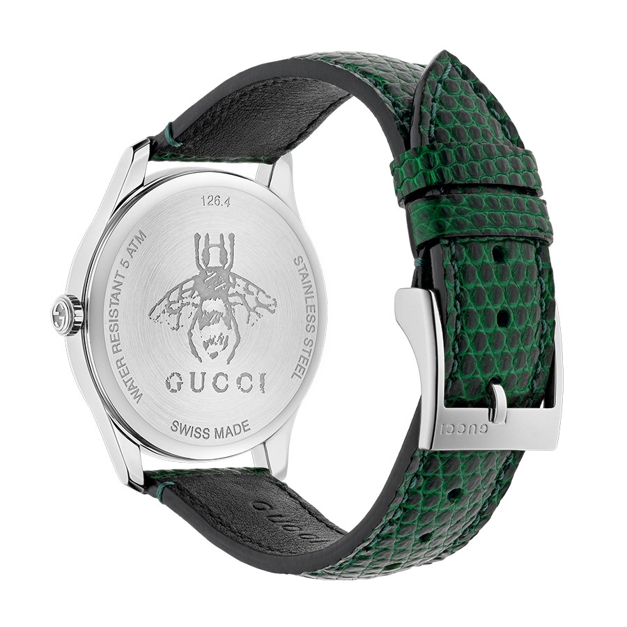 G-Timeless 36mm Green Mother of Pearl House Motif Gucci Dial Watch Angle View