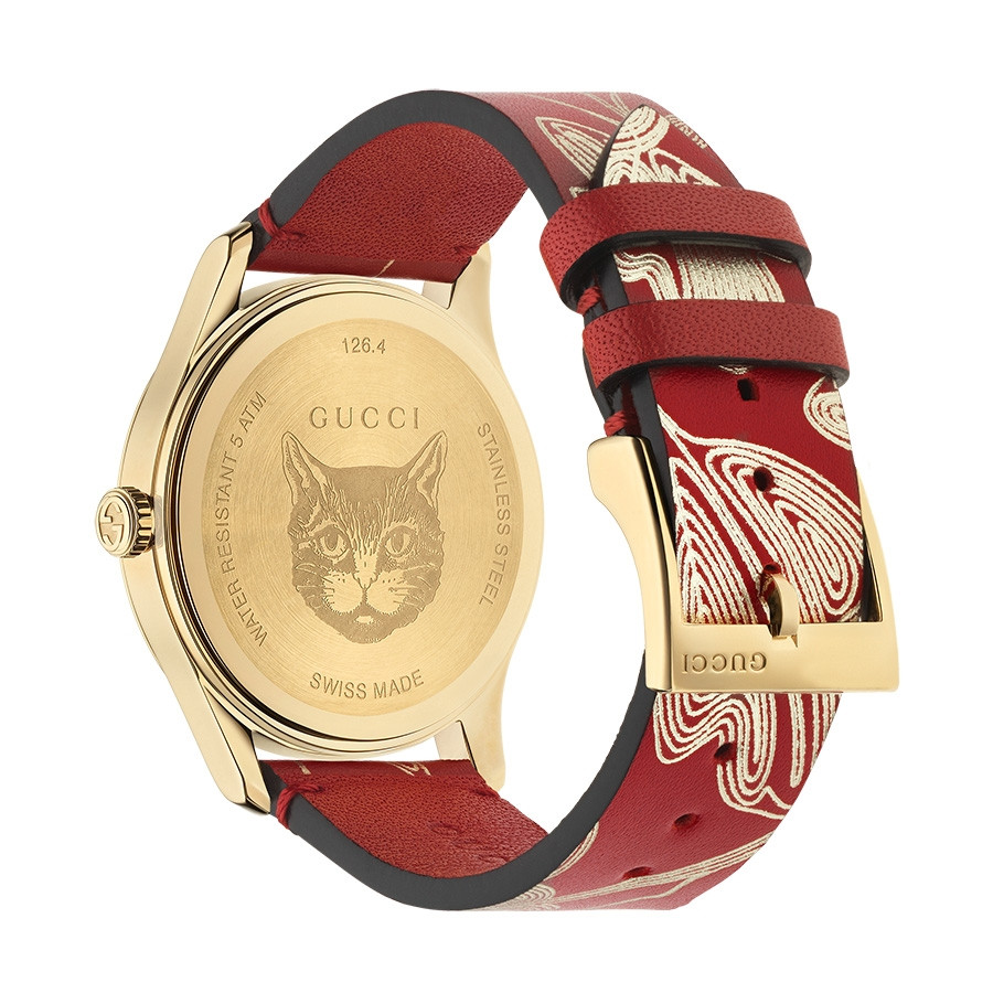 Gucci Red & Yellow Gold Butterfly G-Timeless Limited Edition Watch Back View