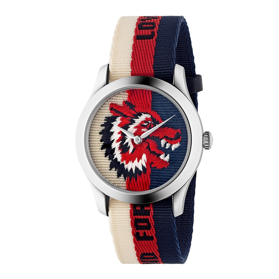 Gucci 38mm Stainless Steel G-Timeless Wolf Motif Nylon Watch
