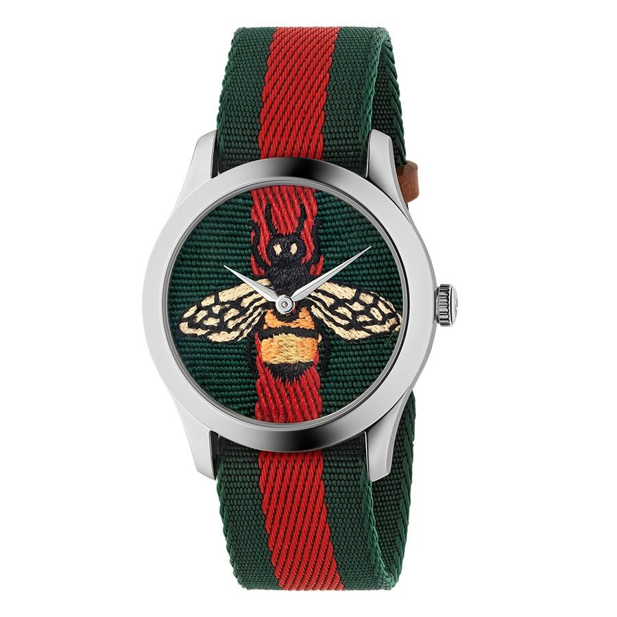 Gucci Stainless Steel G-Timeless Garden Green & Red Bee Motif Watch