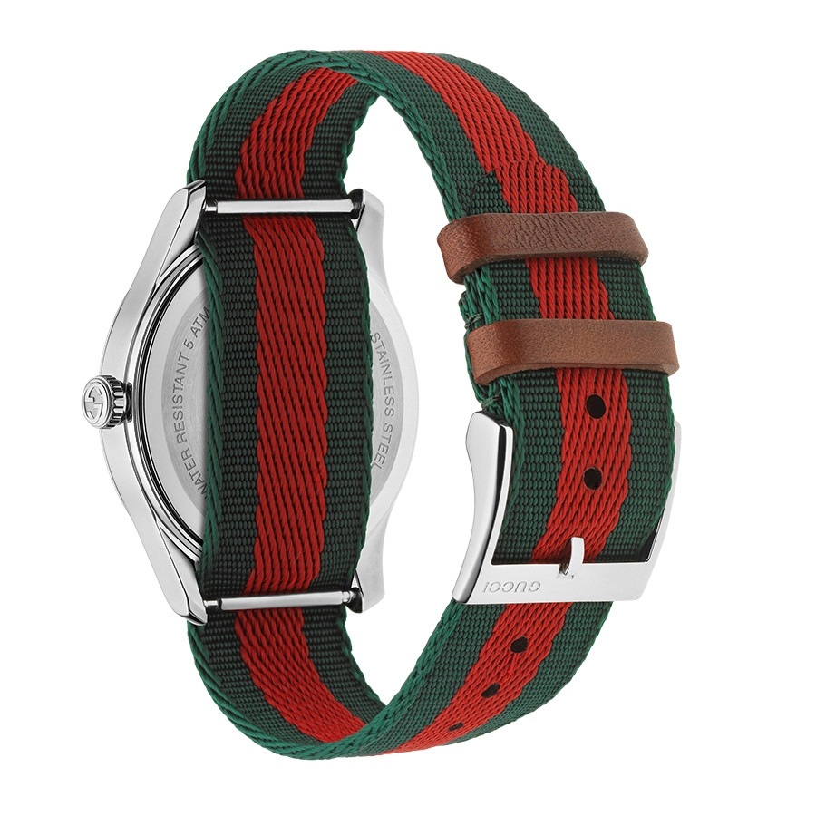 Gucci Stainless Steel G-Timeless Garden Green & Red Bee Motif Watch Angle View