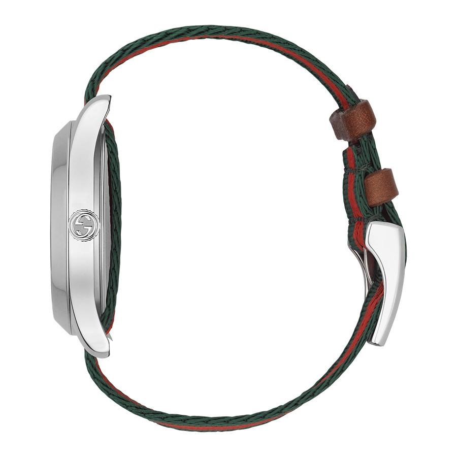 Gucci Stainless Steel G-Timeless Garden Green & Red Bee Motif Watch Side View