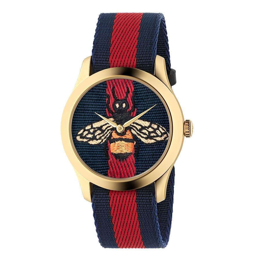 Gucci Garden Yellow Gold Blue & Red G-Timeless Bee Motif Watch