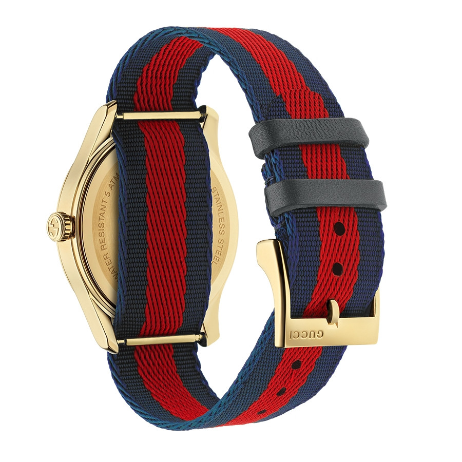 Gucci Garden Yellow Gold Blue & Red G-Timeless Bee Motif Watch Angle View
