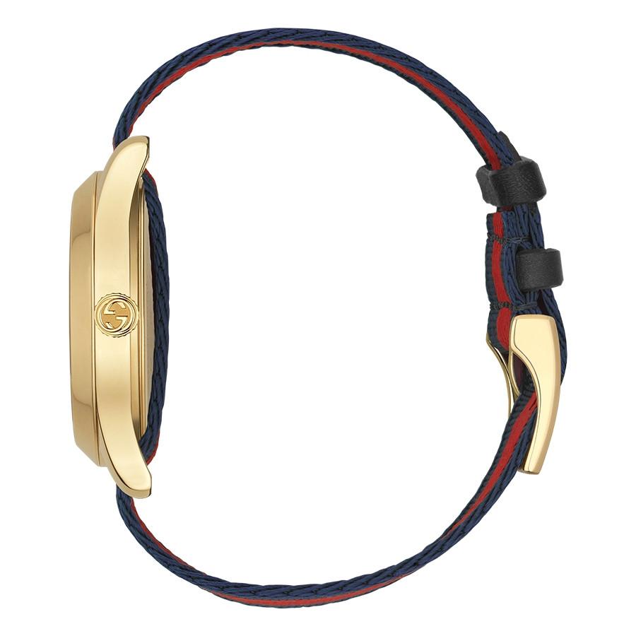 Gucci Garden Yellow Gold Blue & Red G-Timeless Bee Motif Watch Side View