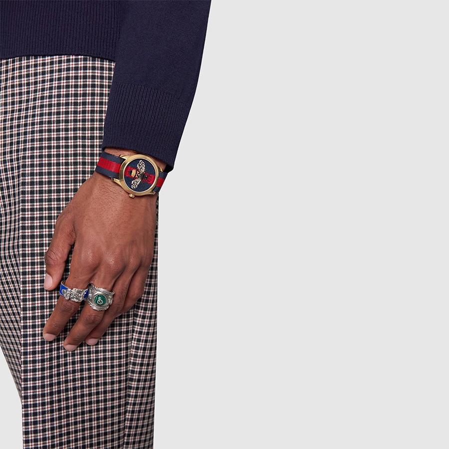 Gucci Garden Yellow Gold Blue & Red G-Timeless Bee Motif Watch on Model