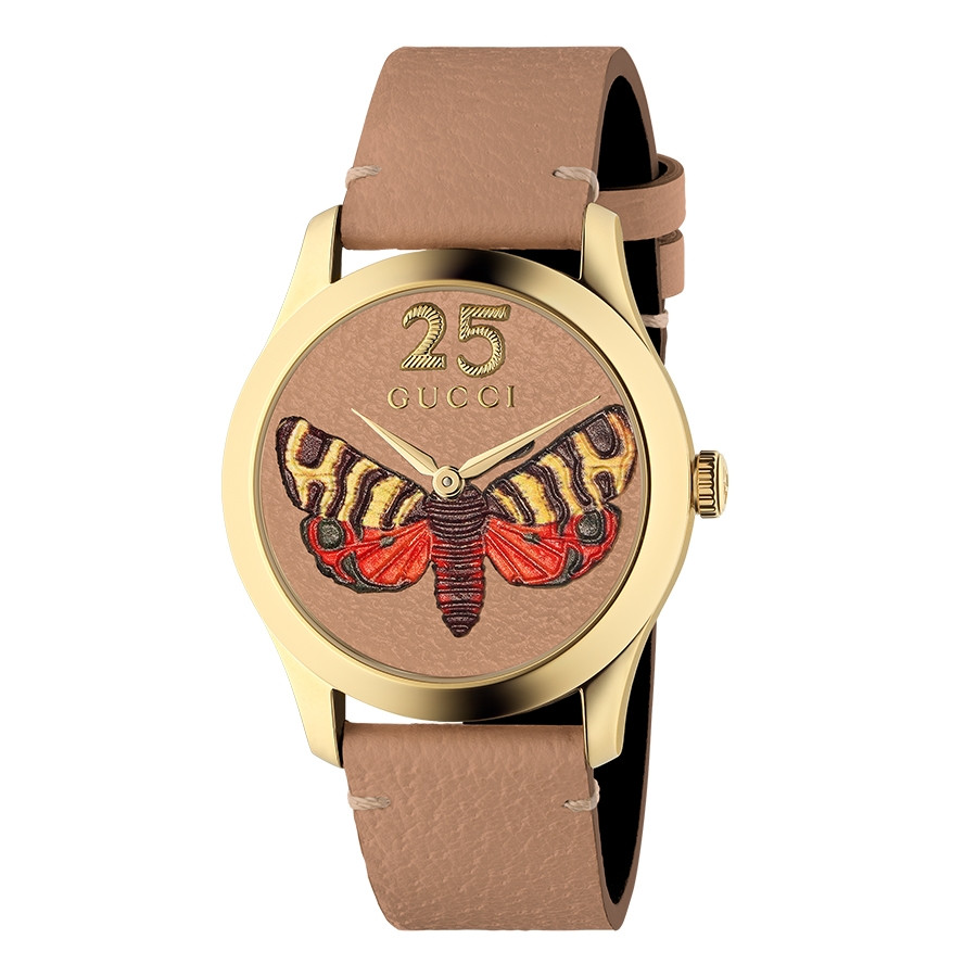 Gucci Yellow Gold G-Timeless Garden Butterfly Motif Limited Edition Watch