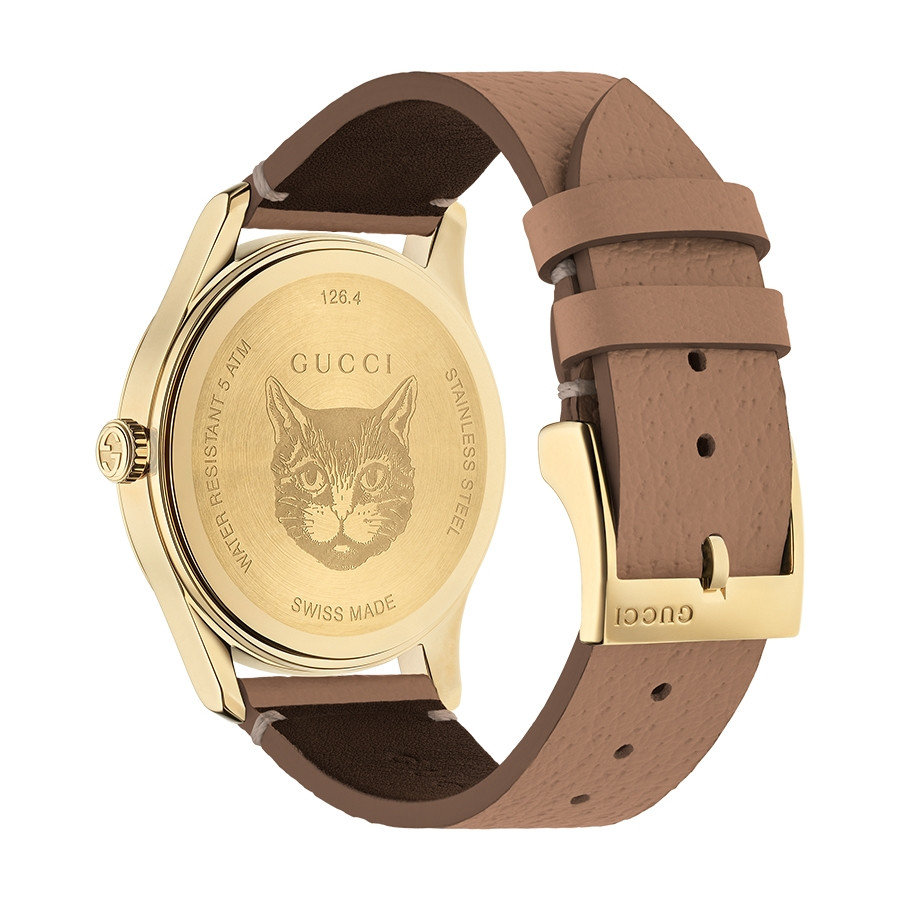 Gucci Yellow Gold G-Timeless Garden Butterfly Motif Limited Edition Watch Angle View