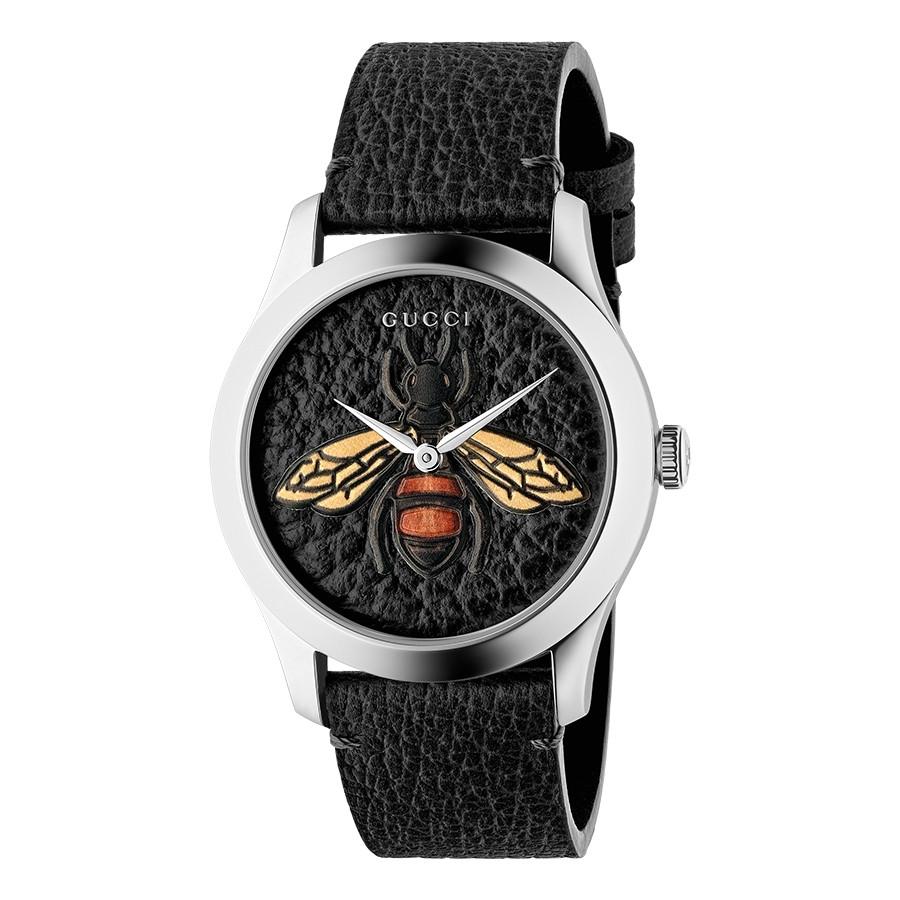 Gucci Stainless Steel G-Timeless Garden Black Bee Motif Dial Watch