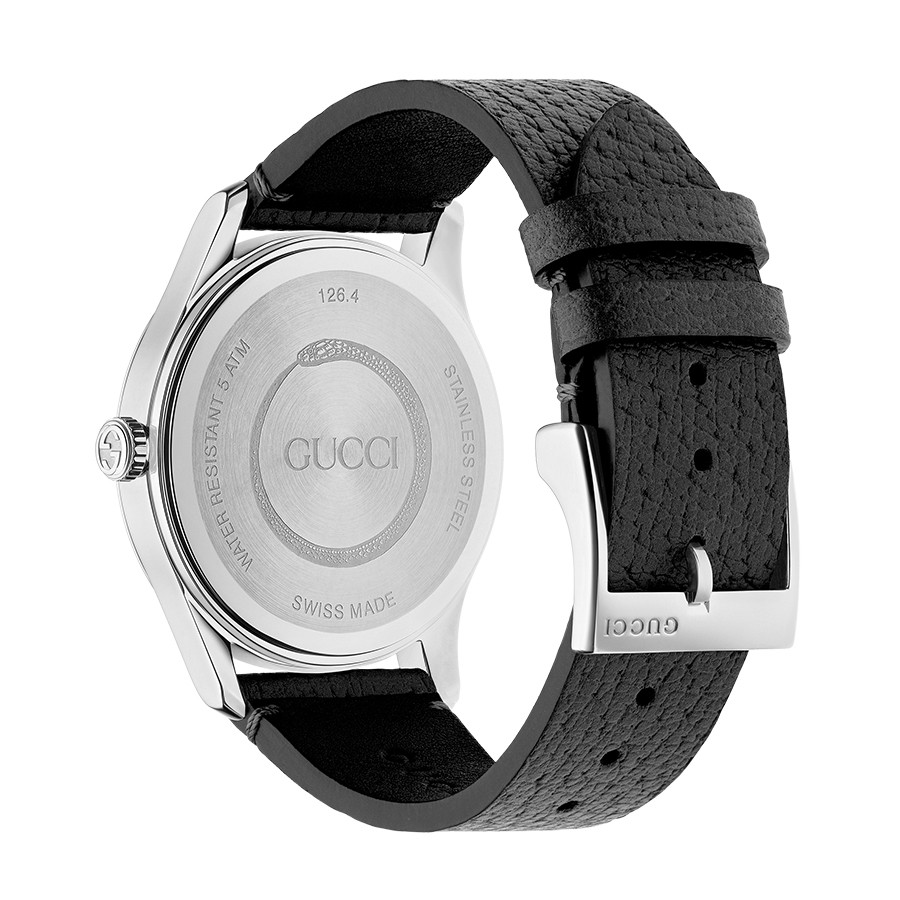 Gucci Stainless Steel G-Timeless Garden Black Bee Motif Dial Watch Angle View