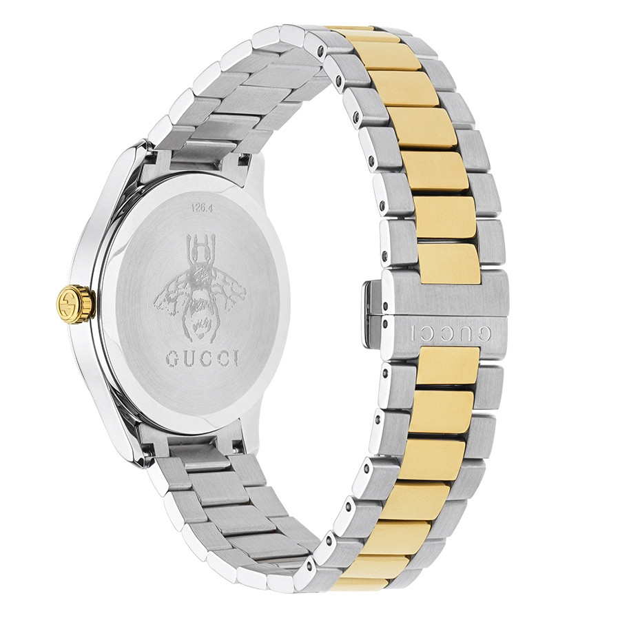 Gucci 38mm Two-Tone Feline Head G-Timeless Motif Dial Watch Angle View