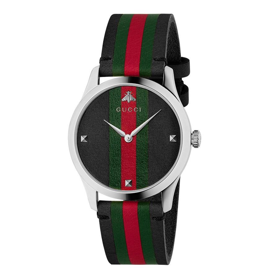 Gucci Black Green & Red Striped G-Timeless Nylon Watch