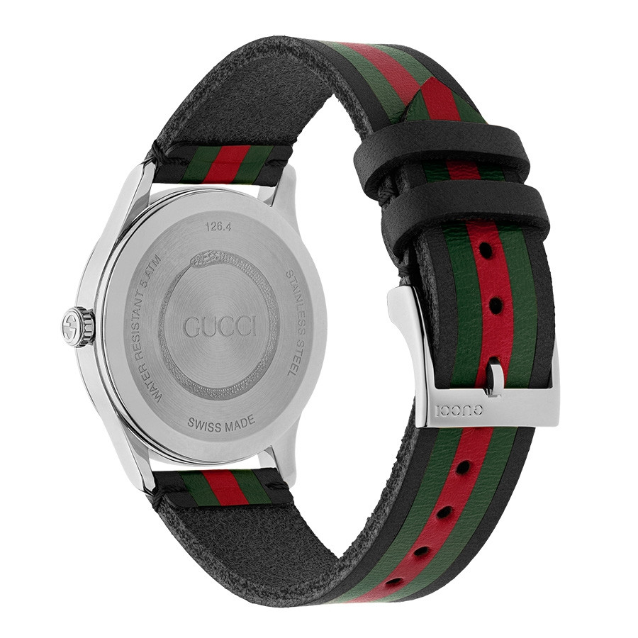 Gucci Black Green & Red Striped G-Timeless Nylon Watch Back View