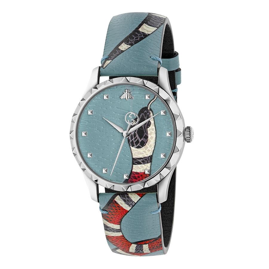 Gucci Light Blue G-Timeless Leather Kingsnake Watch