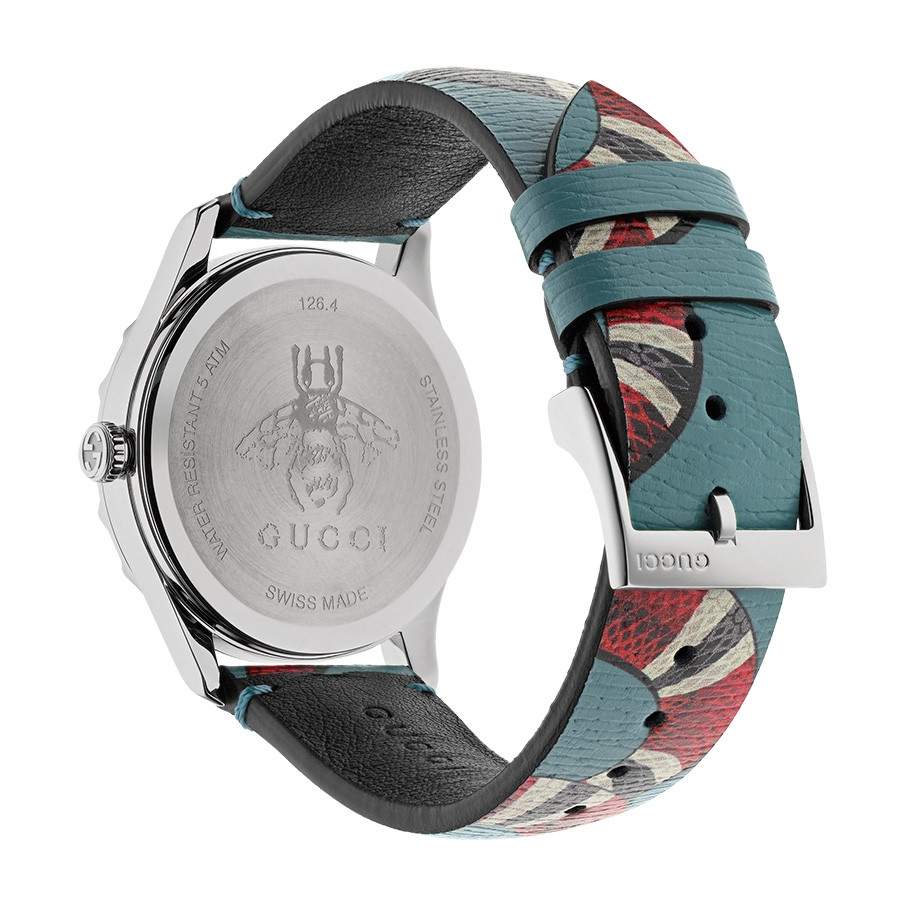 Gucci Light Blue G-Timeless Leather Kingsnake Watch Back View