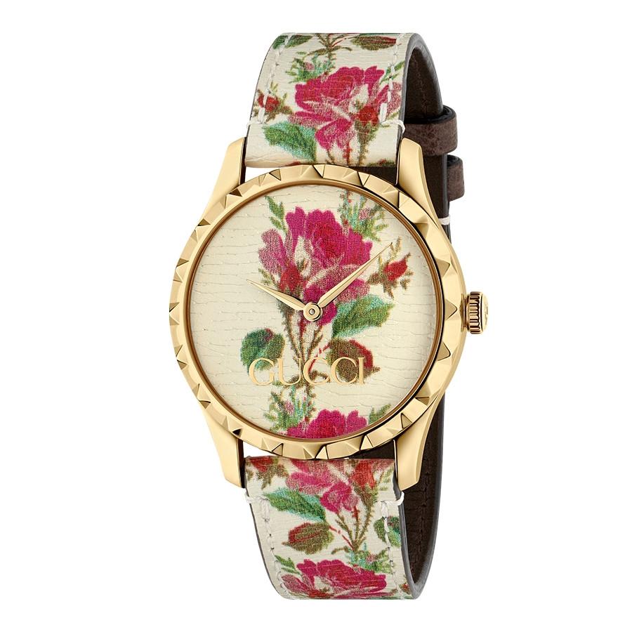 Gucci Yellow Gold G-Timeless Garden Beige Flower Print Dial Watch