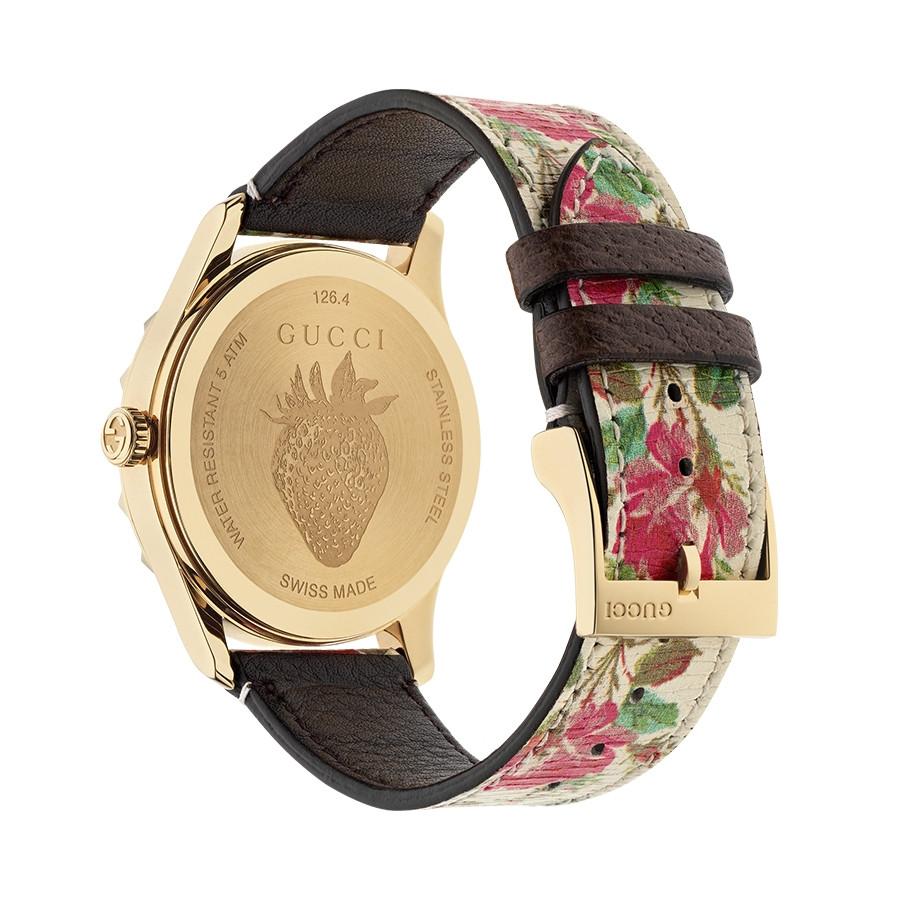 Gucci Yellow Gold G-Timeless Garden Beige Flower Print Dial Watch Angle View