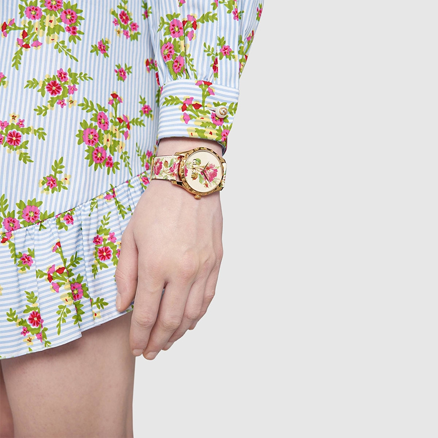 Gucci Yellow Gold G-Timeless Garden Beige Flower Print Dial Watch on Model