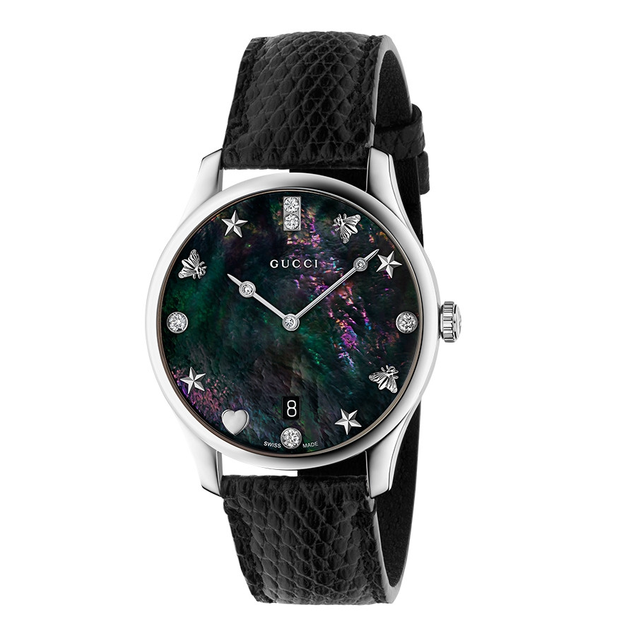 Gucci Stainless Steel G-Timeless Diamond & Black Mother of Pearl Leather Watch