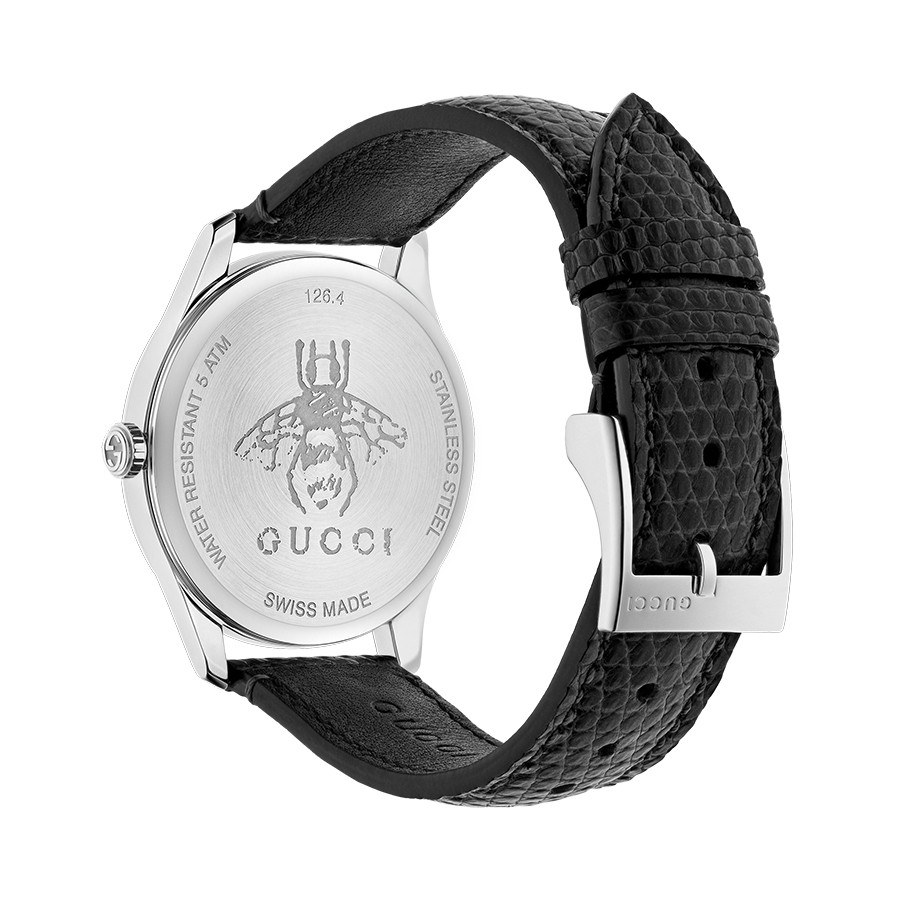 Gucci Stainless Steel G-Timeless Diamond & Black Mother of Pearl Leather Watch Angle View
