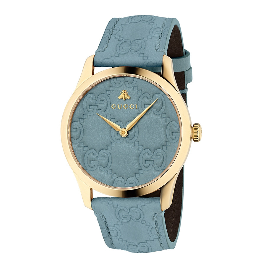 Gucci Signature Yellow Gold Sky Blue Debossed Dial G-Timeless Watch