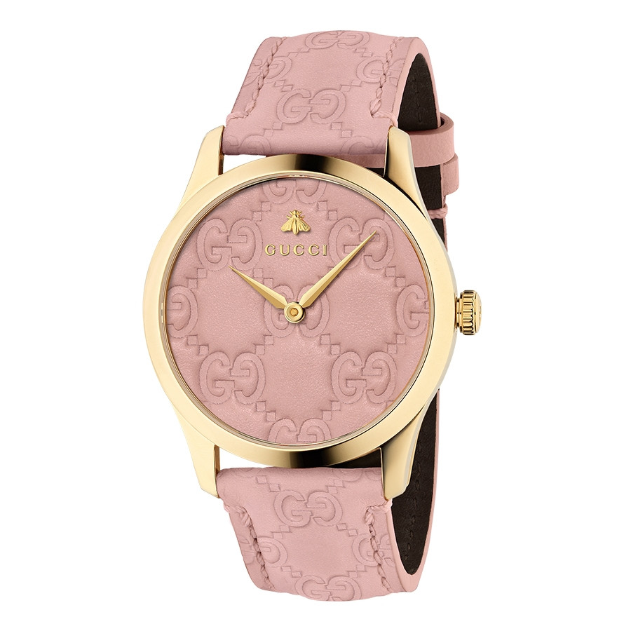 Gucci Signature 38mm Yellow Gold Pastel Pink G-Timeless Leather Watch